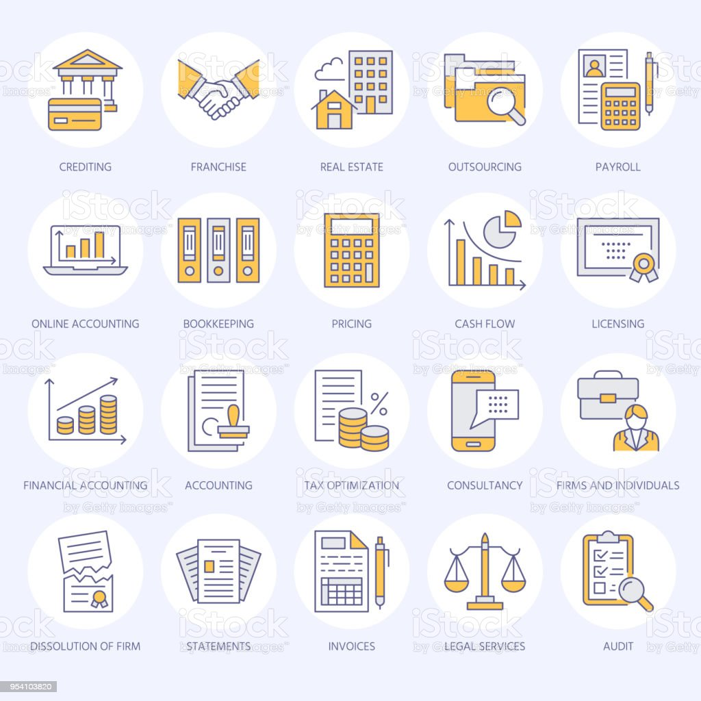 Financial accounting flat line icons. Bookkeeping, tax optimization, firm dissolution, accountant outsourcing, payroll, real estate crediting. Accountancy finance thin linear signs for legal services vector art illustration