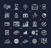 Financial activities automation outline style symbols on dark background. Line vector icons set for infographics, mobile and web designs.