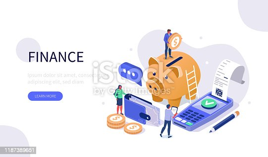 People Characters Standing near Piggy Bank, Paying Terminal and Wallet. Woman and Man Calculating Payment, Salary or Taxes. Audit and Financial Monitoring Concept. Flat Isometric Vector Illustration.