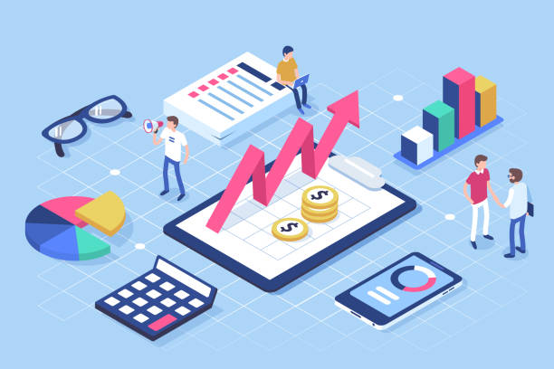 financial administration Financial administration concept with characters. Can use for web banner, infographics, hero images. Flat isometric vector illustration isolated on white background. budget stock illustrations