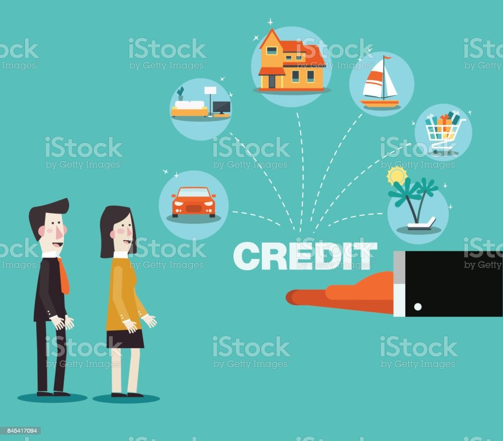 Financial adviser offering a credit card to a young couple vector art illustration