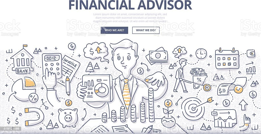 Financial Advisor Doodle Concept vector art illustration
