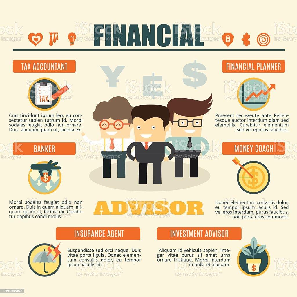 financial advisor infographics vector art illustration