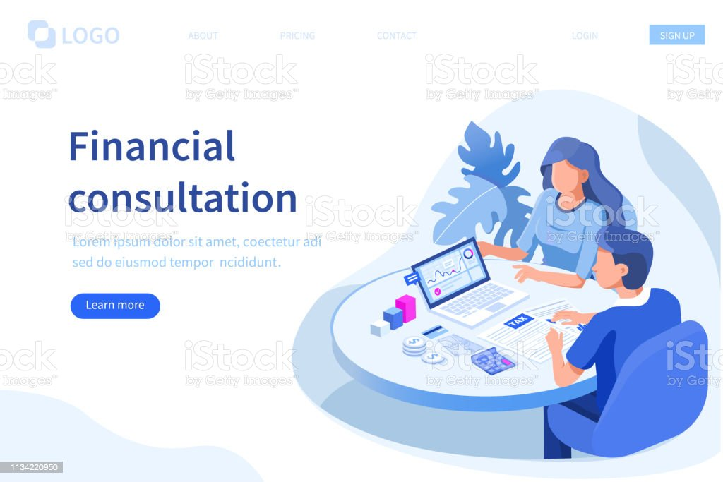 financial advisor Financial consultation concept. Can use for web banner, infographics, hero images. Flat isometric vector illustration isolated on white background. Advice stock vector