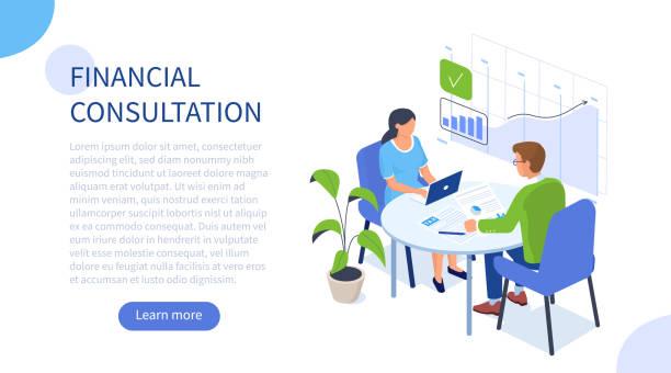 stockillustraties, clipart, cartoons en iconen met financieel adviseur - financieel adviseur