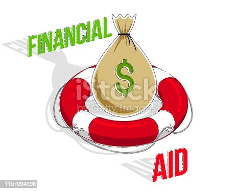 Financial aid concept, Life buoy lifebelt with big cash money bag isolated on white background. Isometric vector business and finance illustration, 3d thin line design.