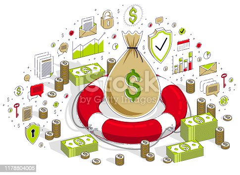 Financial aid concept, Life buoy lifebelt with big money bag and cash dollar stack isolated on white background. 3d vector business isometric illustration with icons, stats charts and design elements.