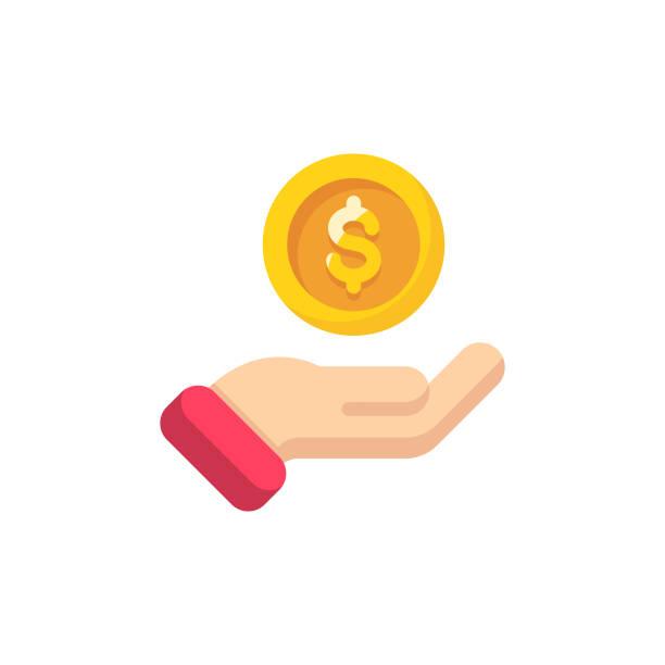 재정 원조 플랫 아이콘입니다. 완벽 한 픽셀. 모바일 및 웹에 적합 합니다. - 동전 stock illustrations