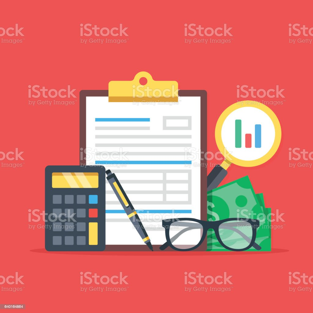 Financial analysis, accounting, business audit concepts. Flat design. Vector illustration vector art illustration