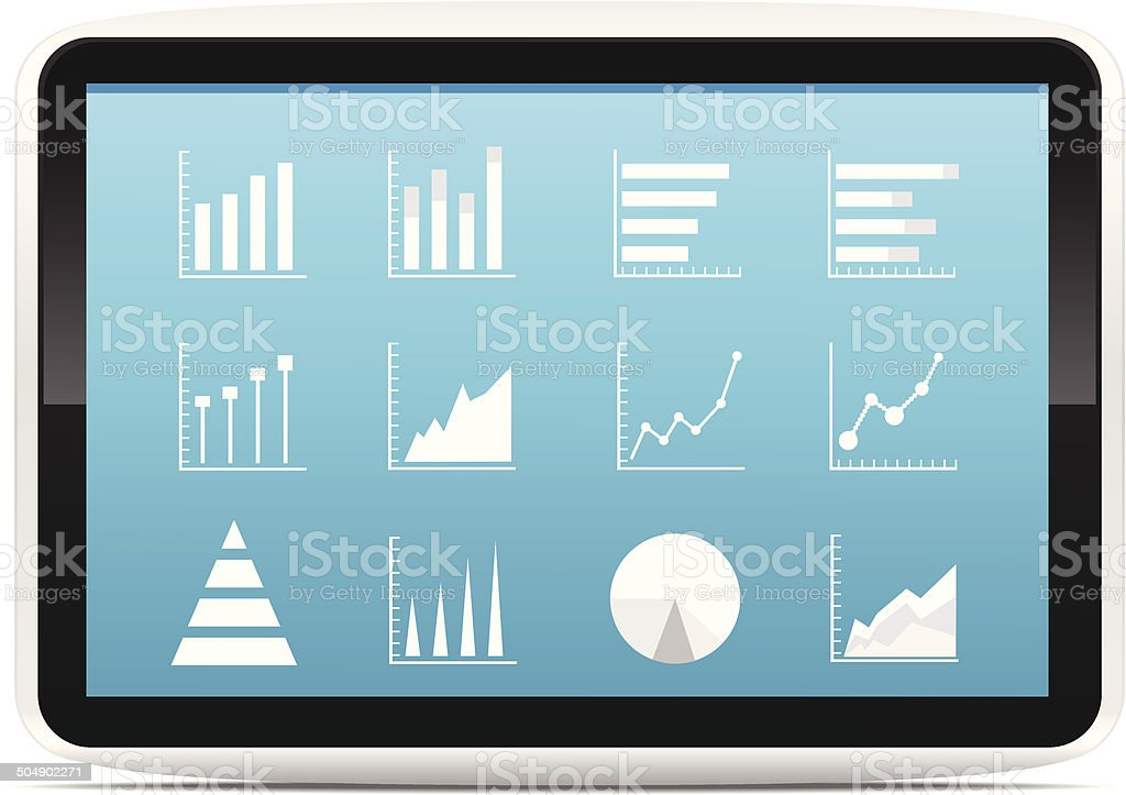 Financial Analysis data on a tablet vector art illustration