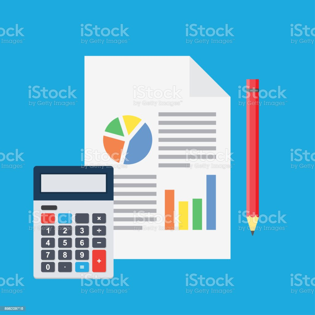 Financial analysis, planning sheet with pencil and calculator vector art illustration
