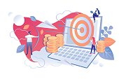 Financial Analysis Project Payback Cartoon Flat. Man Shoots Bow at Target. Woman sets Target on Laptop Screen. Profitability and Sales Analysis to make Successful Decision. Vector Illustration.