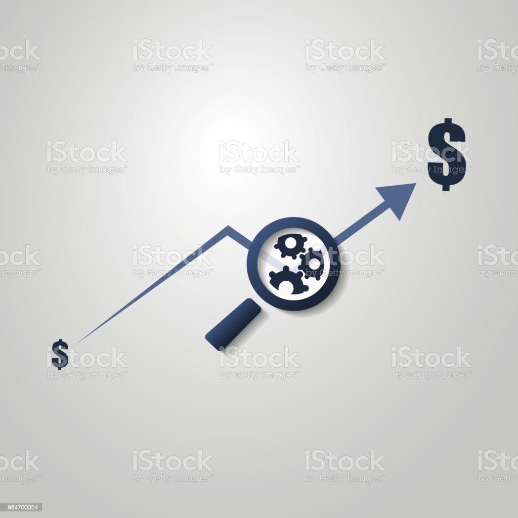 Finanzanalyse-Symbol mit Diagramm und Lupe – Vektorgrafik