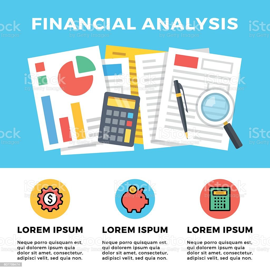 Financial analysis. Website banner, flat icons set. Flat vector illustration vector art illustration