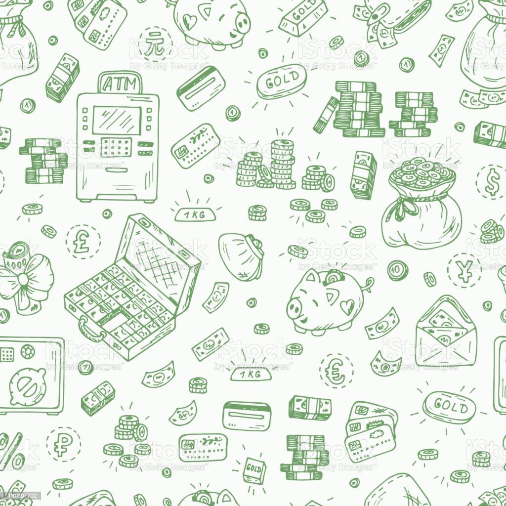 Ilustración de Símbolos Financieros Y Comerciales Dibujados A Mano ...