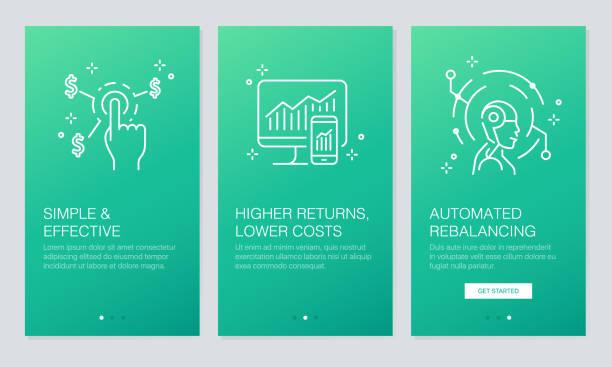 finanz- und fintech konzept onboarding app-bildschirme. moderne und vereinfachte vektor illustration walkthrough bildschirme vorlage für mobile apps. - splash grafiken stock-grafiken, -clipart, -cartoons und -symbole