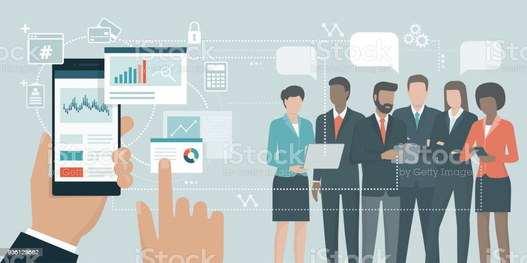Financial app and business team vector art illustration