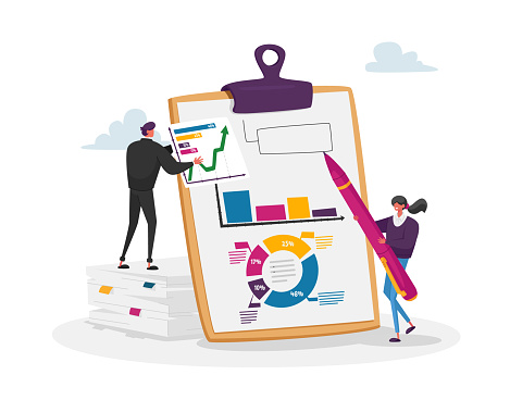 Financial Audit and Literacy. Financier, Banker Advising, Bookkeeping. Tiny Accountant Characters at Huge Clip Board Fill Accounting Data, Counting Debit or Credit. Cartoon People Vector Illustration