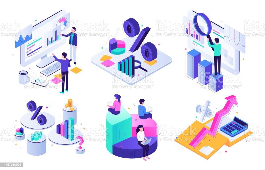 Finansiell revision. Budget diagram, skatte expert och affärs ekonomi balans värdering ISO metrisk 3D vektor illustration uppsättning - Royaltyfri Aktiemarknad och börs vektorgrafik