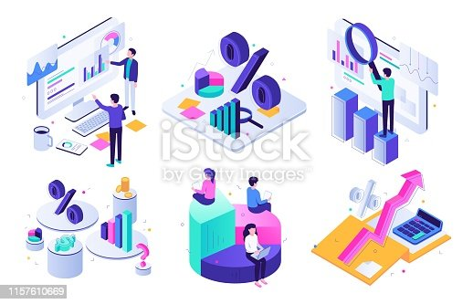 Financial audit. Budget graph, tax expert and business finance balance valuation. Managment calculation, financial accounting or audit tax service. Isometric 3D vector illustration icons set