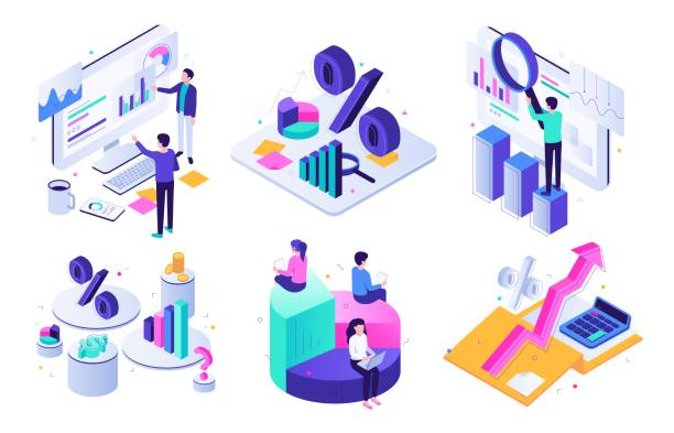 stockillustraties, clipart, cartoons en iconen met financiële audit. begroting grafiek, fiscaal expert en business finance balance waardering isometrische 3d vector illustratie set - test