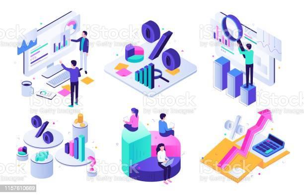 Finansiell Revision Budget Diagram Skatte Expert Och Affärs Ekonomi Balans Värdering Iso Metrisk 3d Vektor Illustration Uppsättning-vektorgrafik och fler bilder på Aktiemarknad och börs