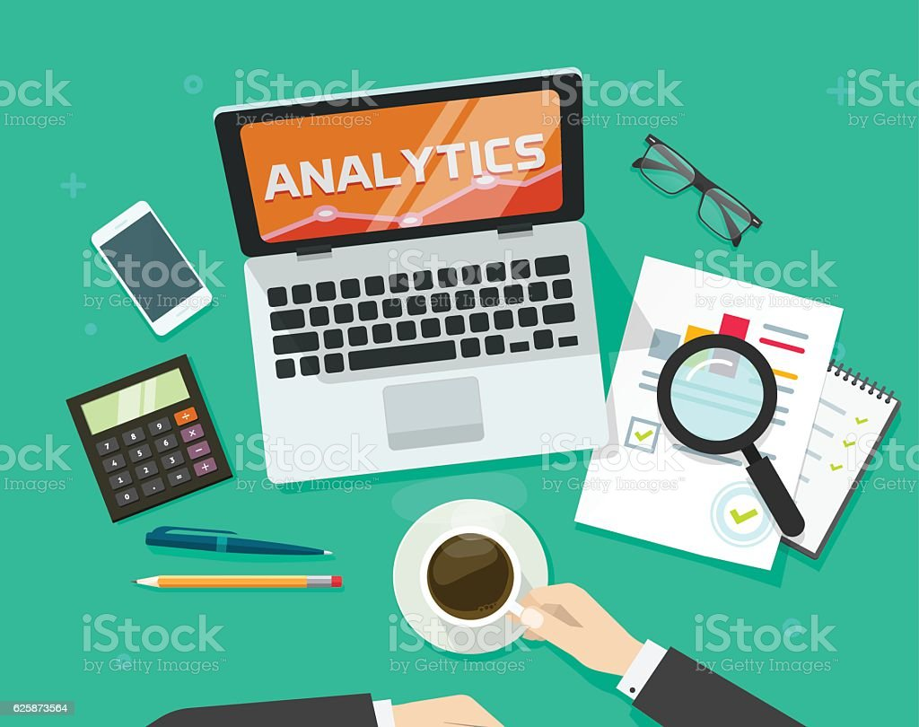 Financial auditing report concept, finance data research verification, accounting review vector art illustration