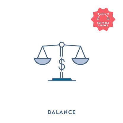 Financial Balance Flat Icon with Editable Stroke and Pixel Perfect.