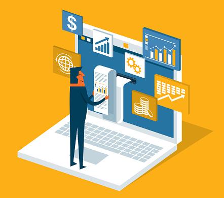 Financial billing data - Businessman