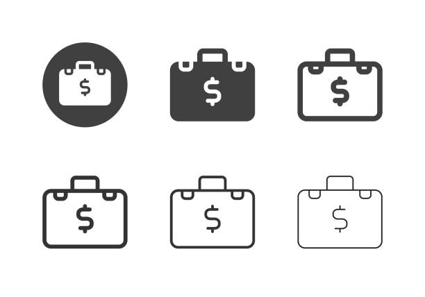 Financial Briefcase Icons - Multi Series vector art illustration