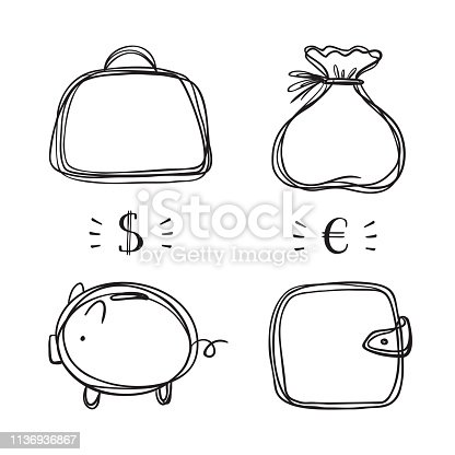 Financial, Business and Wealth Symbols Icons Vector Set. Hand drawn Doodle Briefcase, Wallet, Money Bag, Piggy with Dollar and Euro Money Symbols.