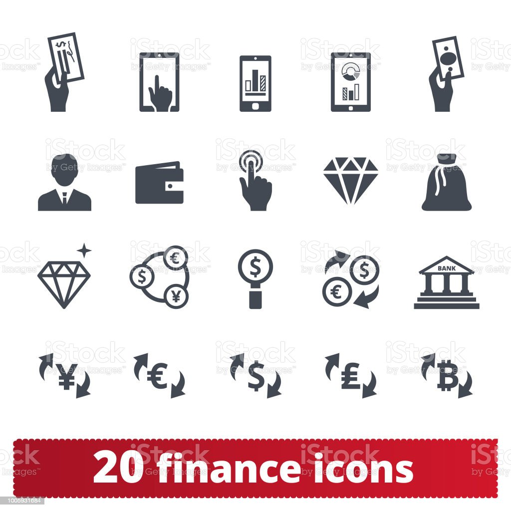 Financial Business, Money Making And Banking Icons Finance, money, banking vector icons set. Symbols collection related to money making, financial business and services, analytics, accounting. Isolated on white background. Accountancy stock vector