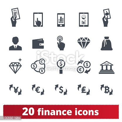 Finance, money, banking vector icons set. Symbols collection related to money making, financial business and services, analytics, accounting. Isolated on white background.