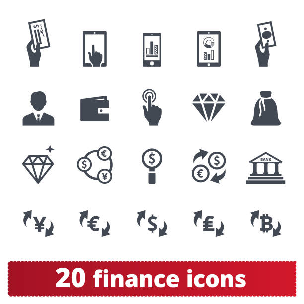 Financial Business, Money Making And Banking Icons Finance, money, banking vector icons set. Symbols collection related to money making, financial business and services, analytics, accounting. Isolated on white background. human representation stock illustrations