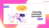 Financial Business Success Concept with Relax Businessman Character Sitting with Computer Dreaming about Vacation. Funny Banner with Office Man Graph for Website, Web Page. Flat Vector Illustration