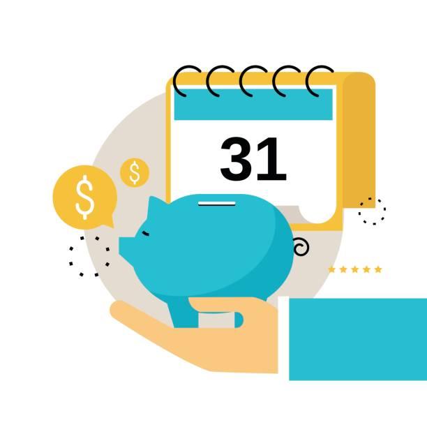 Financial calendar, financial planning, monthly budget planning vector art illustration