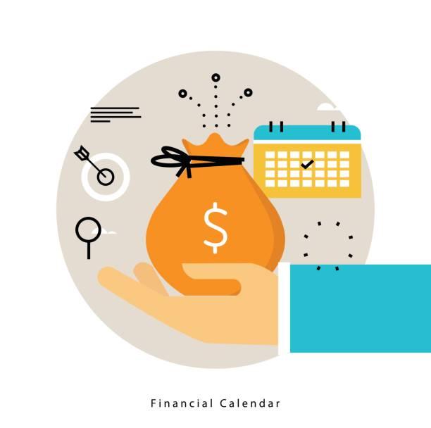 Financial calendar, monthly budget planning flat vector illustration vector art illustration