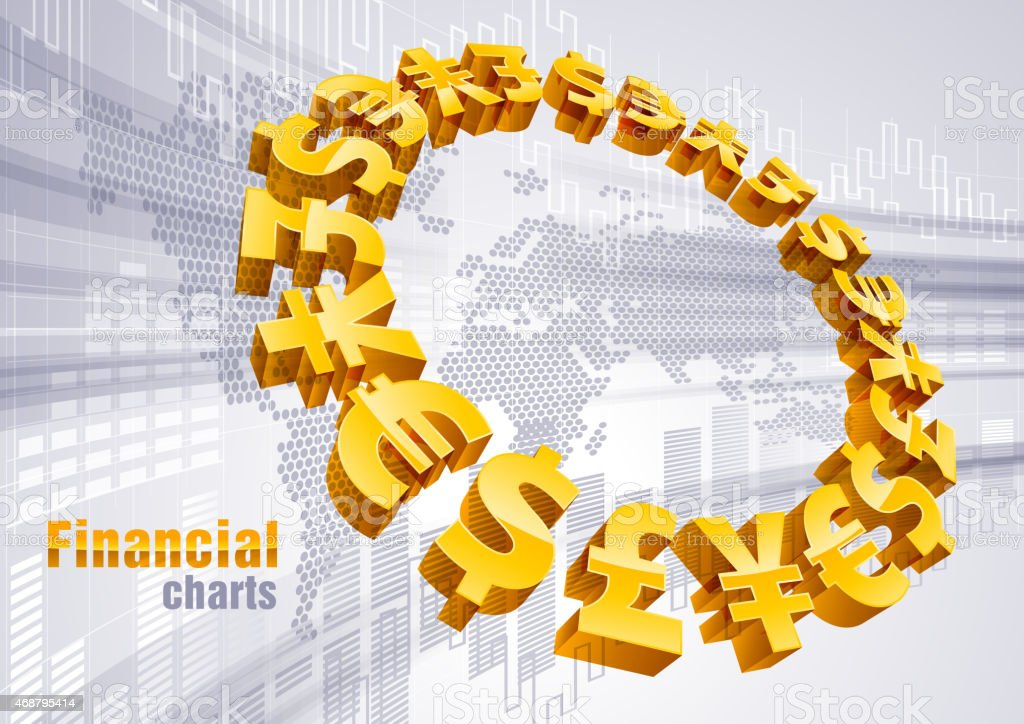 Financial charts vector art illustration
