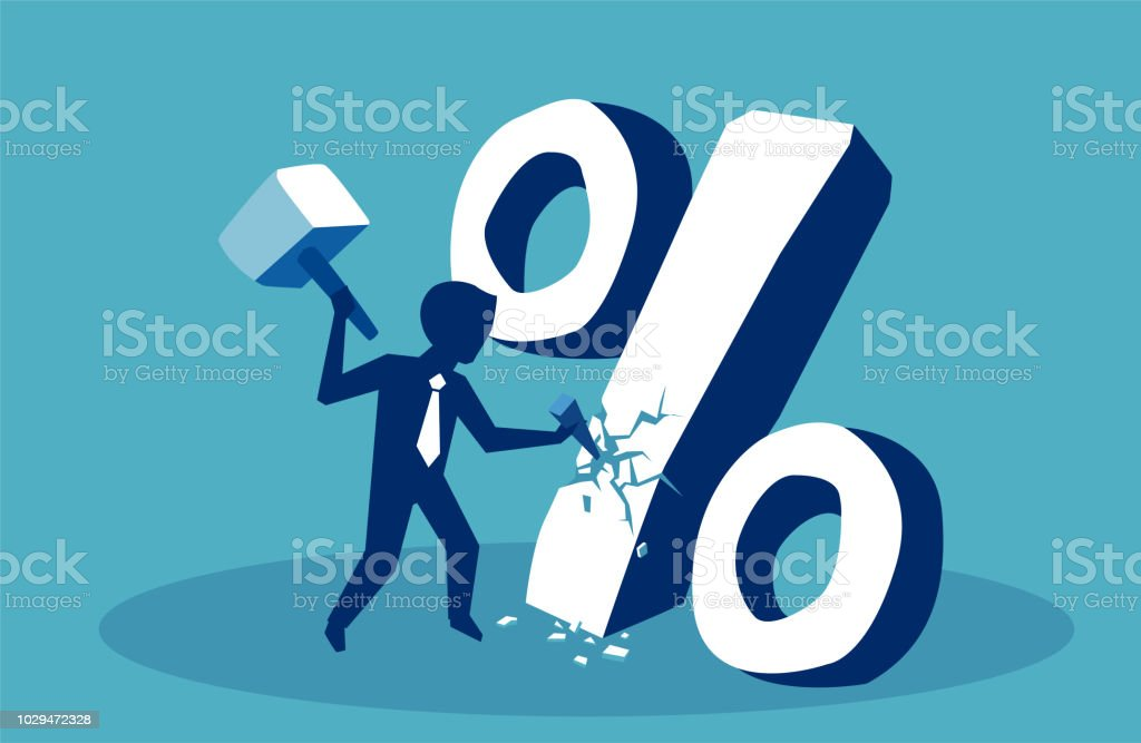 Financial concept. Business man breaking down percent sign Financial concept. Business man breaking down percent sign Adult stock vector
