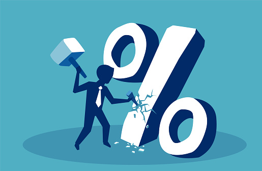 Financial Concept Business Man Breaking Down Percent Sign Stock Illustration - Download Image Now