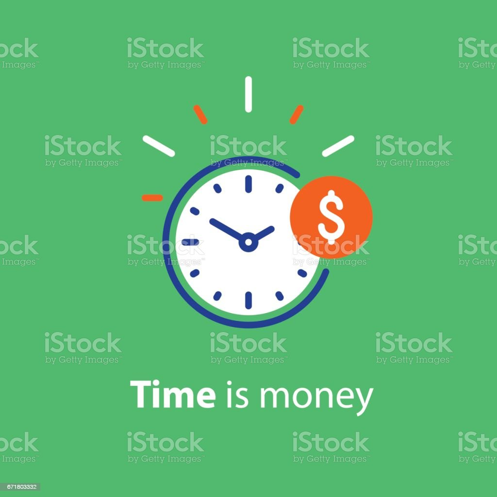 Financial concept, money investment, time is money line icon vector art illustration