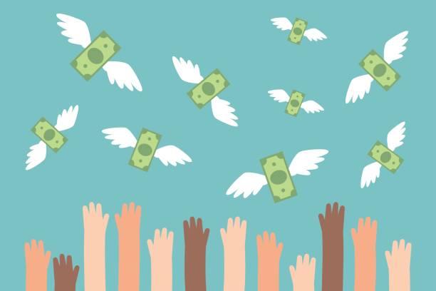 illustrations, cliparts, dessins animés et icônes de financier illustration conceptuelle. relief mains essayant d'attraper l'argent volant / flat modifiable vector illustration, images clipart - voler