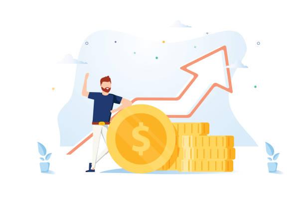 Finanzberater, der sich auf einen Stapel Münzen stützt, lächelt freundlich und winkt mit der Hand. Erfolgreicher Investor, Unternehmer. – Vektorgrafik