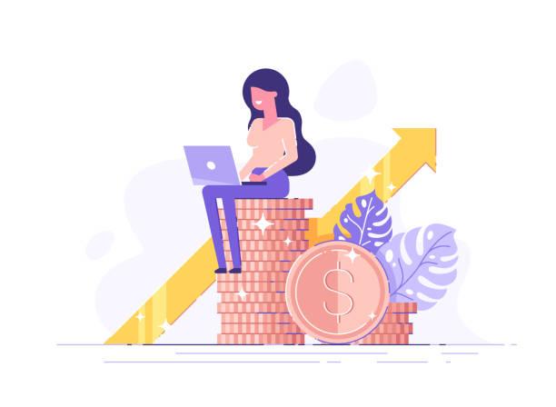 ilustrações, clipart, desenhos animados e ícones de o consultante financeiro que inclina-se em uma pilha de moedas sorri amigável e acena com mão. investidor ou empreendedor de sucesso. consultoria financeira, investimento e poupança. ilustração moderna do vetor. - economia