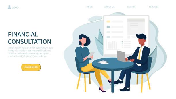 stockillustraties, clipart, cartoons en iconen met thema financieel overleg en mensen in vergadering - financieel adviseur