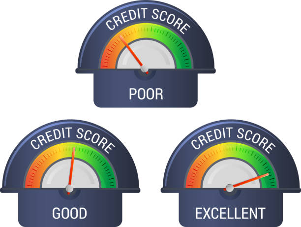financial credit rating scale - illustration - credit score stock illustrations, clip art, cartoons, & icons