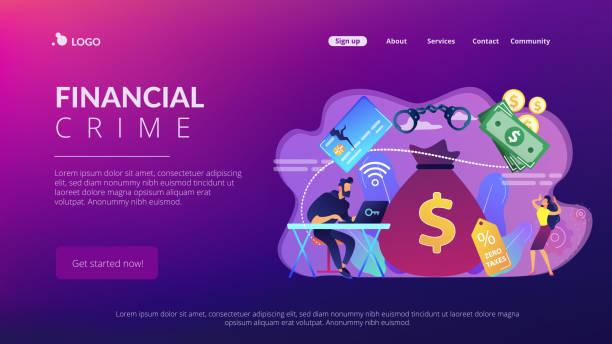 ilustrações de stock, clip art, desenhos animados e ícones de financial crimes concept landing page. - corruption