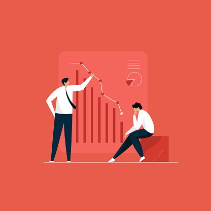 financial crisis concept, businessmen analyzing market fall