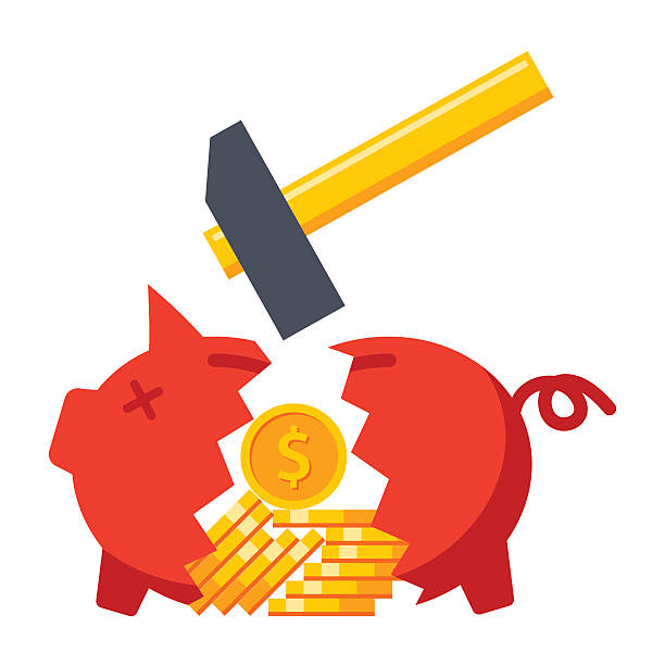 stockillustraties, clipart, cartoons en iconen met financial crisis concept - geld uitgeven