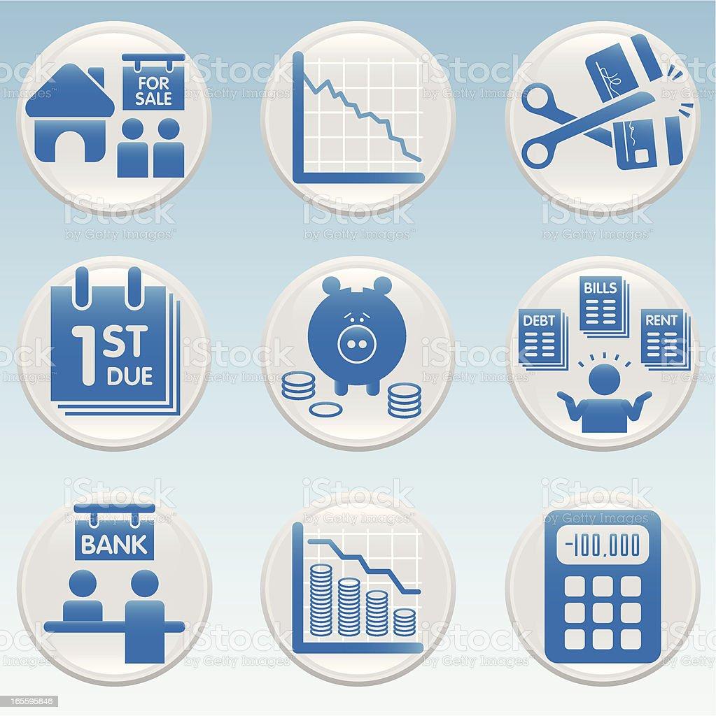 Crise financeira ícones ilustração de crise financeira ícones e mais banco de imagens de azul royalty-free